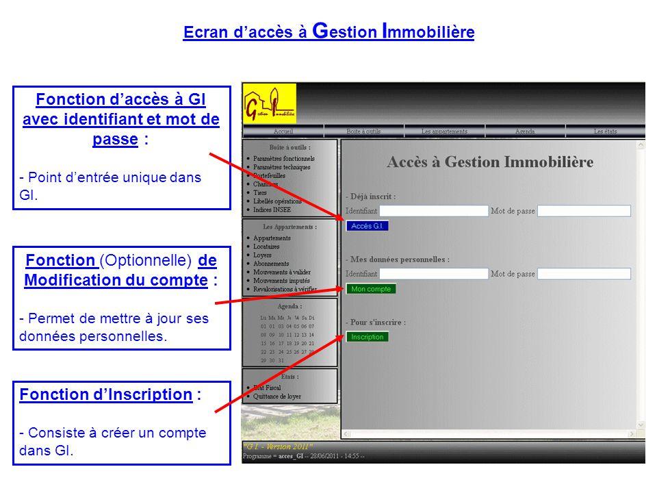 Fonction d'Inscription : - Consiste à créer un compte dans GI. Fonction (Optionnelle) de Modification du compte : - Permet de mettre à jour ses donnée