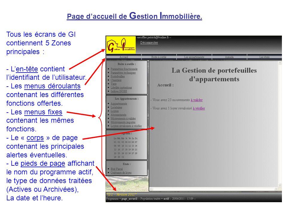 Page d'accueil de G estion I mmobilière. Tous les écrans de GI contiennent 5 Zones principales : - L'en-tête contient l'identifiant de l'utilisateur.