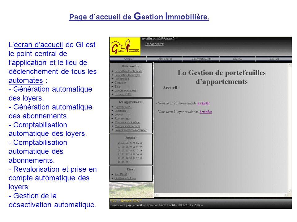 Page d'accueil de G estion I mmobilière. L'écran d'accueil de GI est le point central de l'application et le lieu de déclenchement de tous les automat