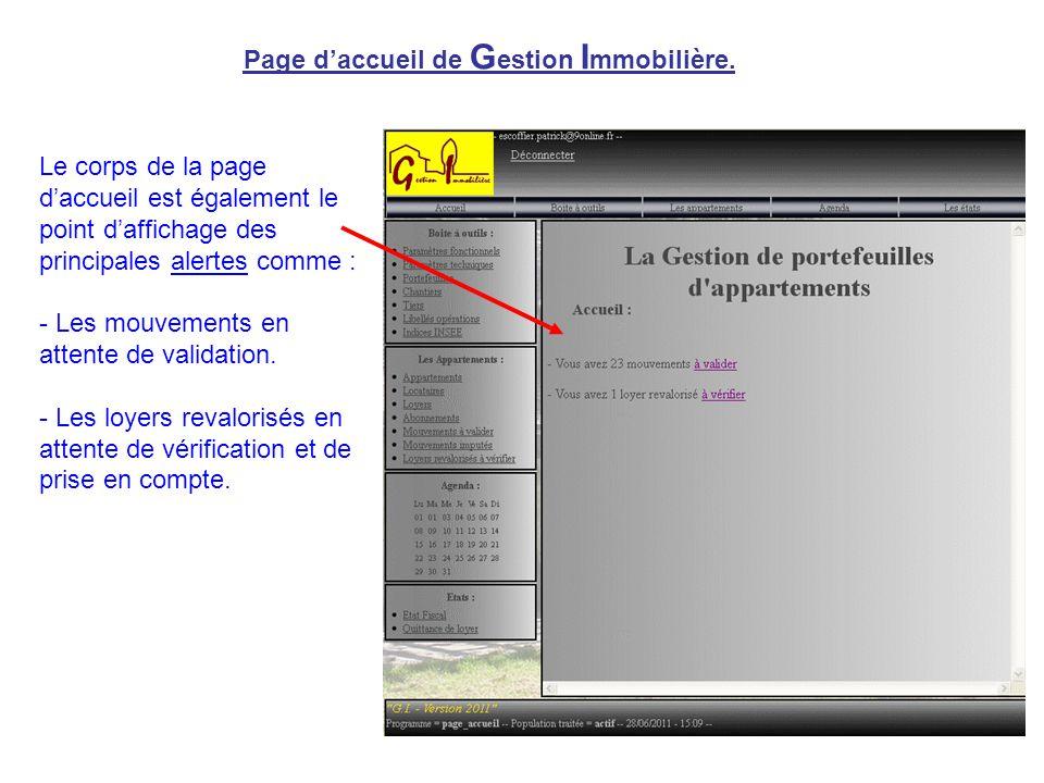 Page d'accueil de G estion I mmobilière. Le corps de la page d'accueil est également le point d'affichage des principales alertes comme : - Les mouvem