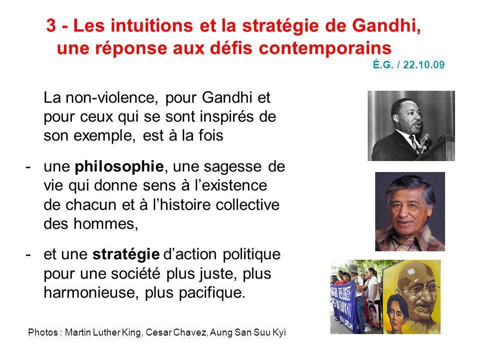 3 - Les intuitions et la stratégie de Gandhi, une réponse aux défis contemporains É.G.