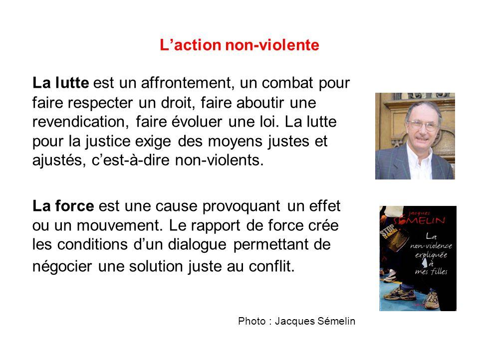 L'action non-violente La lutte est un affrontement, un combat pour faire respecter un droit, faire aboutir une revendication, faire évoluer une loi.