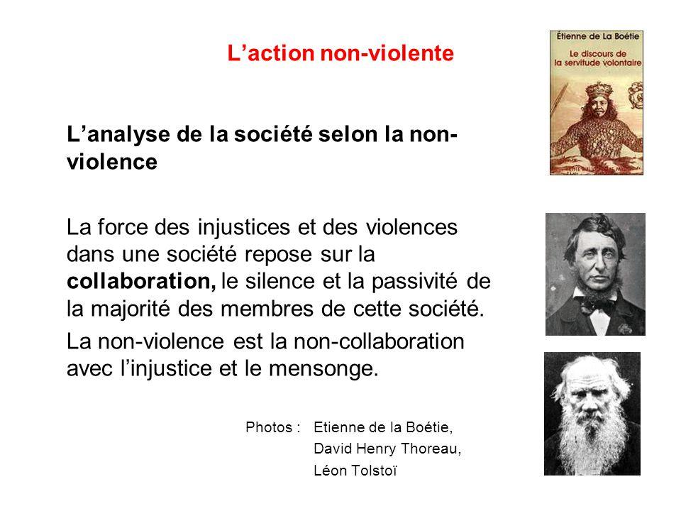 L'action non-violente L'analyse de la société selon la non- violence La force des injustices et des violences dans une société repose sur la collaboration, le silence et la passivité de la majorité des membres de cette société.