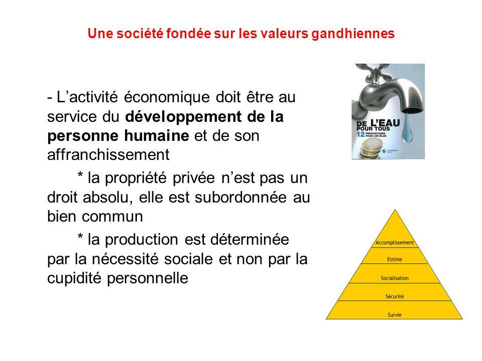 Une société fondée sur les valeurs gandhiennes - L'activité économique doit être au service du développement de la personne humaine et de son affranchissement * la propriété privée n'est pas un droit absolu, elle est subordonnée au bien commun * la production est déterminée par la nécessité sociale et non par la cupidité personnelle