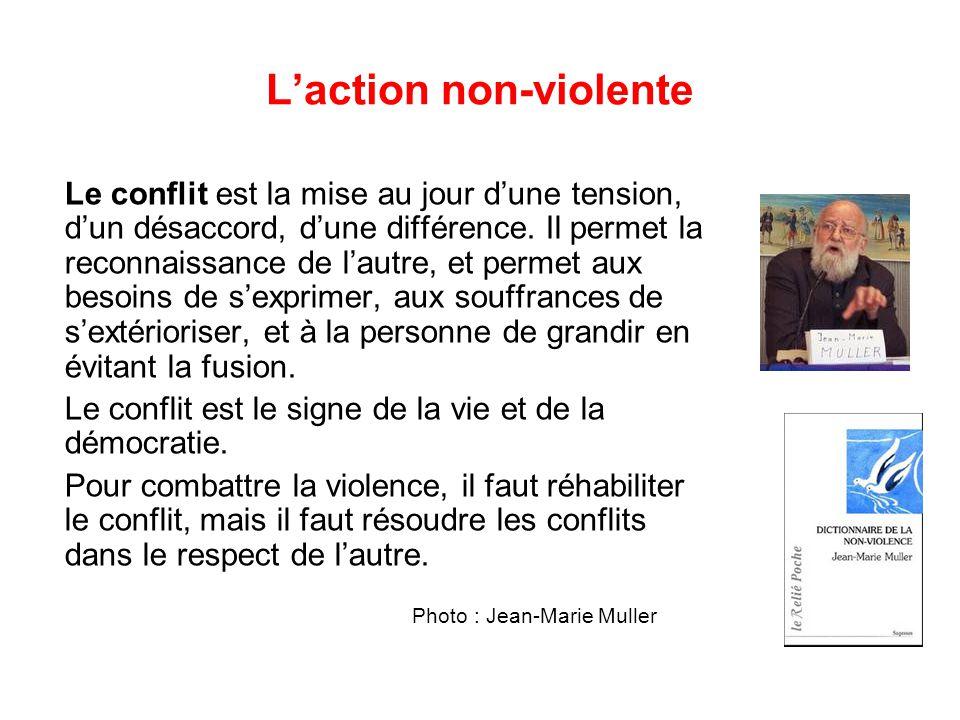 L'action non-violente Le conflit est la mise au jour d'une tension, d'un désaccord, d'une différence.