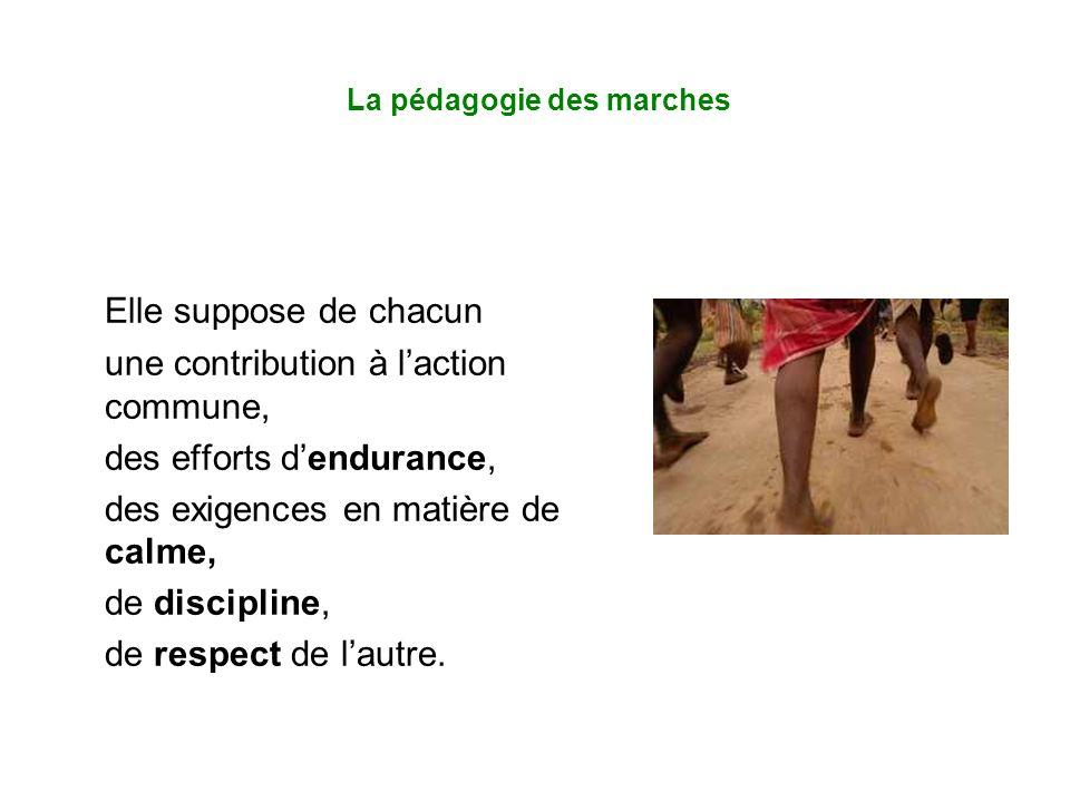 La pédagogie des marches Elle suppose de chacun une contribution à l'action commune, des efforts d'endurance, des exigences en matière de calme, de discipline, de respect de l'autre.