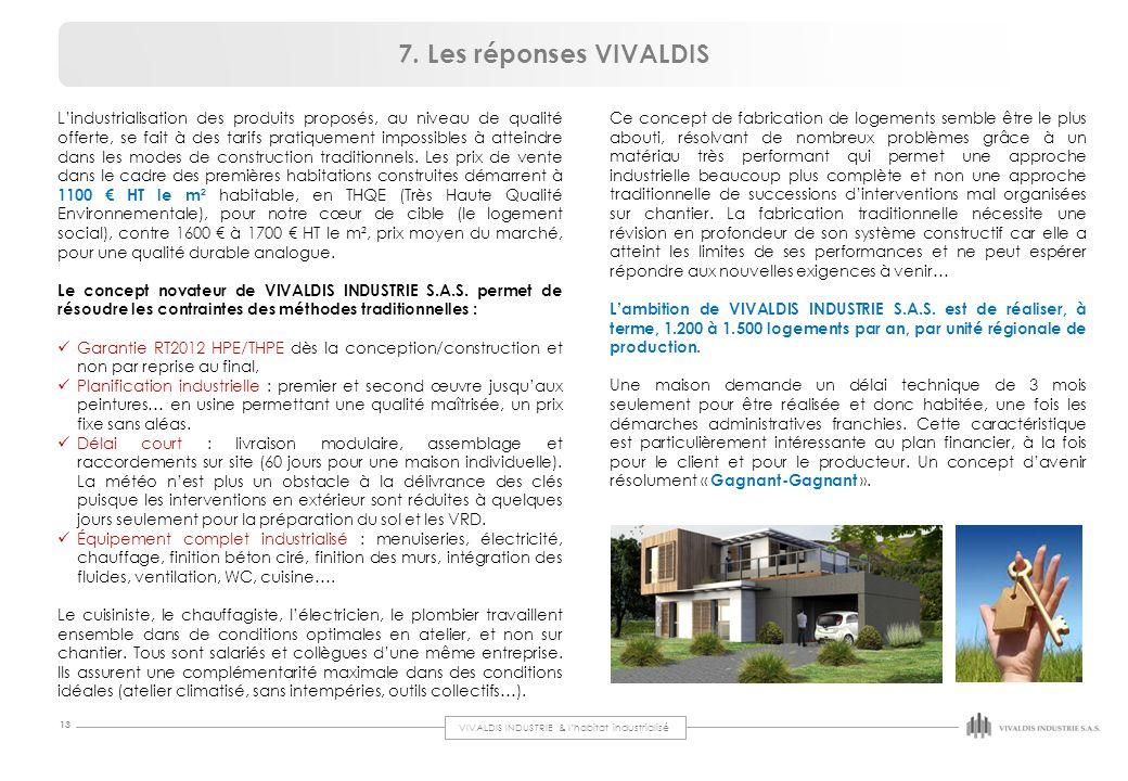 VIVALDIS INDUSTRIE & l'habitat industrialisé 13 L'industrialisation des produits proposés, au niveau de qualité offerte, se fait à des tarifs pratique