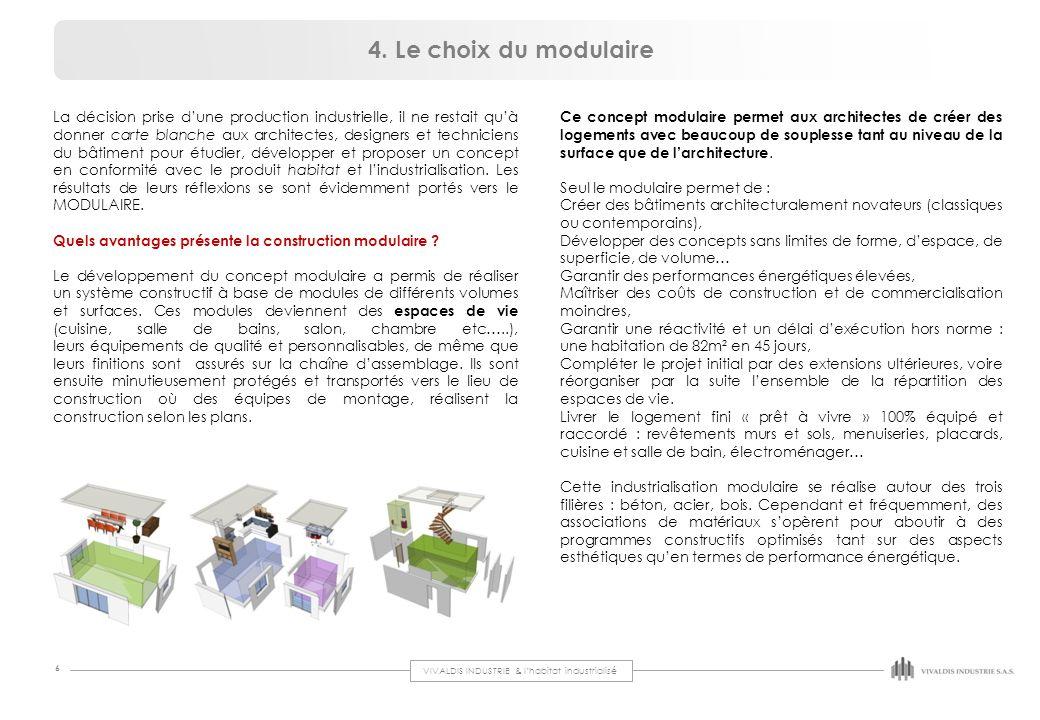 VIVALDIS INDUSTRIE & l'habitat industrialisé 6 4. Le choix du modulaire Ce concept modulaire permet aux architectes de créer des logements avec beauco