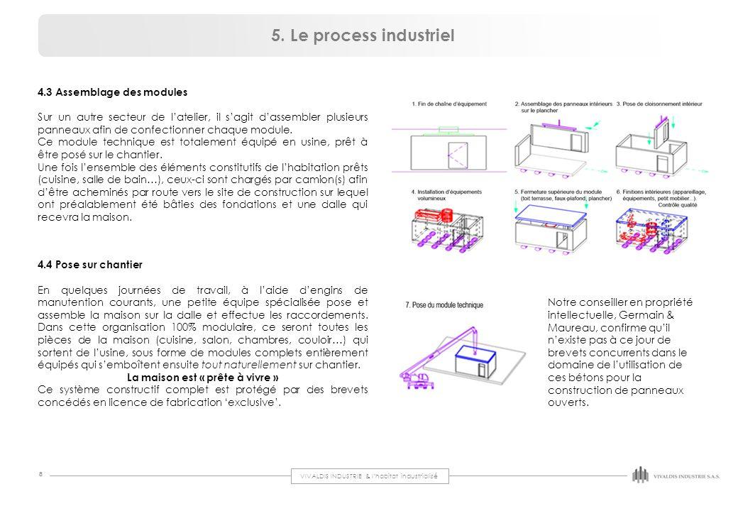 VIVALDIS INDUSTRIE & l'habitat industrialisé 8 4.3 Assemblage des modules Sur un autre secteur de l'atelier, il s'agit d'assembler plusieurs panneaux
