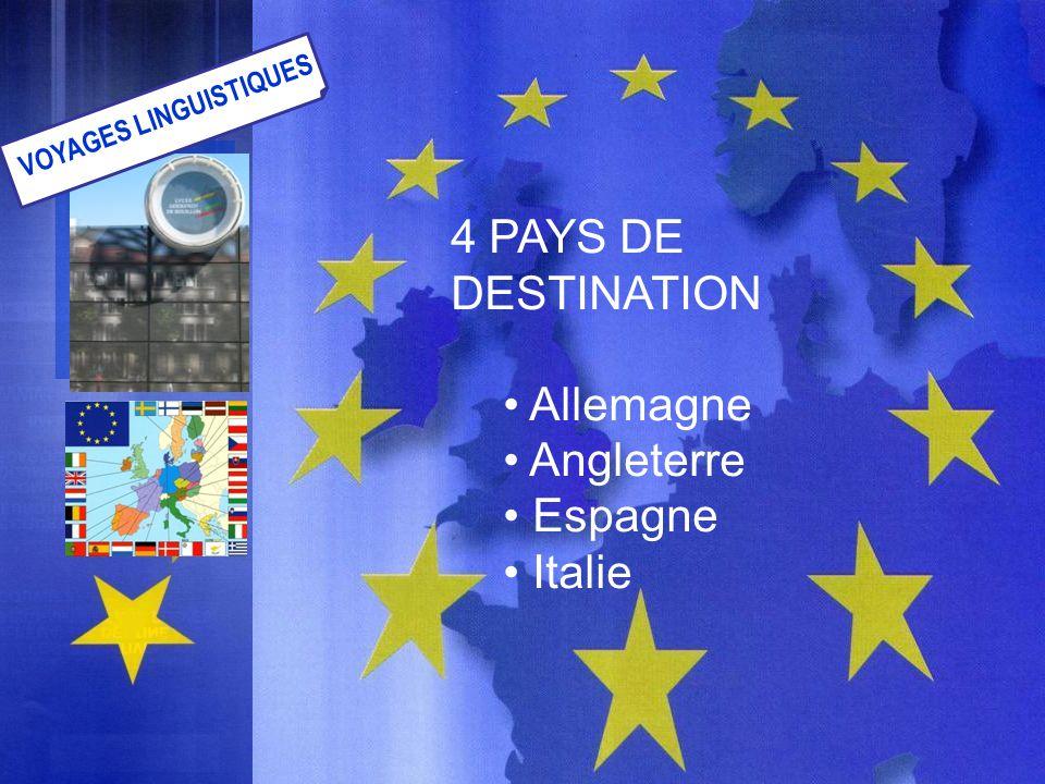 4 PAYS DE DESTINATION Allemagne Angleterre Espagne Italie VOYAGES LINGUISTIQUES
