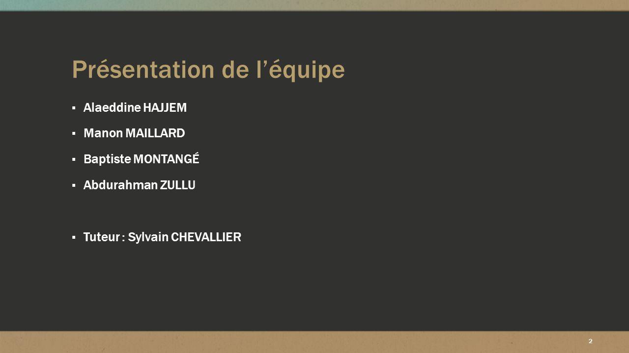 2 Présentation de l'équipe ▪ Alaeddine HAJJEM ▪ Manon MAILLARD ▪ Baptiste MONTANGÉ ▪ Abdurahman ZULLU ▪ Tuteur : Sylvain CHEVALLIER