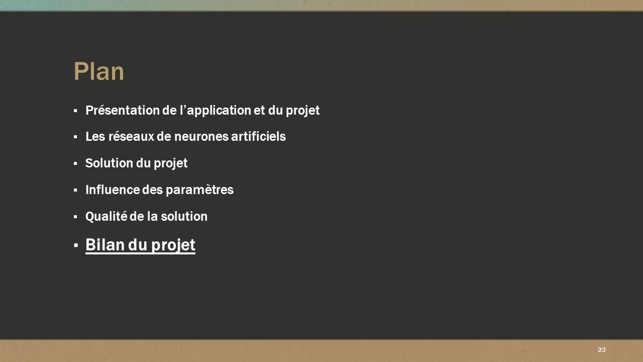 23 Plan ▪ Présentation de l'application et du projet ▪ Les réseaux de neurones artificiels ▪ Solution du projet ▪ Influence des paramètres ▪ Qualité d