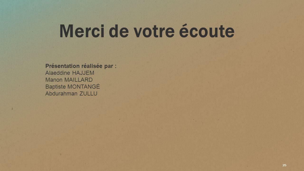 25 Merci de votre écoute Présentation réalisée par : Alaeddine HAJJEM Manon MAILLARD Baptiste MONTANGÉ Abdurahman ZULLU