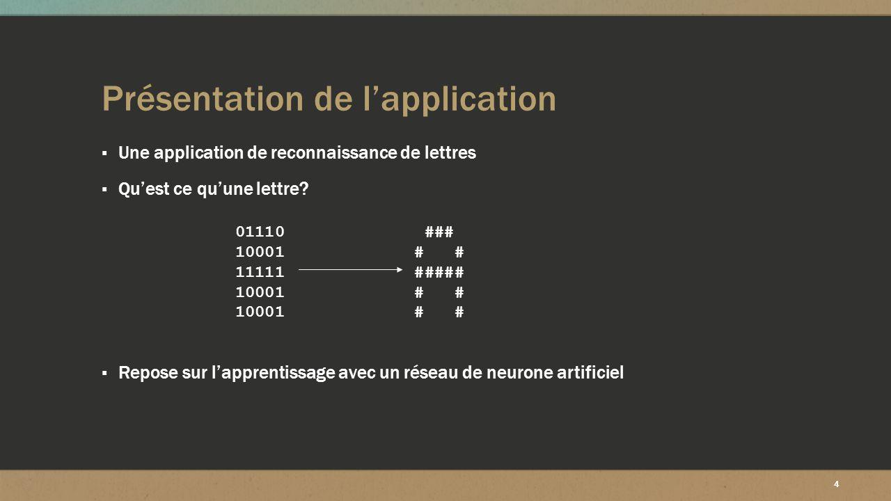 4 Présentation de l'application ▪ Une application de reconnaissance de lettres ▪ Qu'est ce qu'une lettre? ▪ Repose sur l'apprentissage avec un réseau