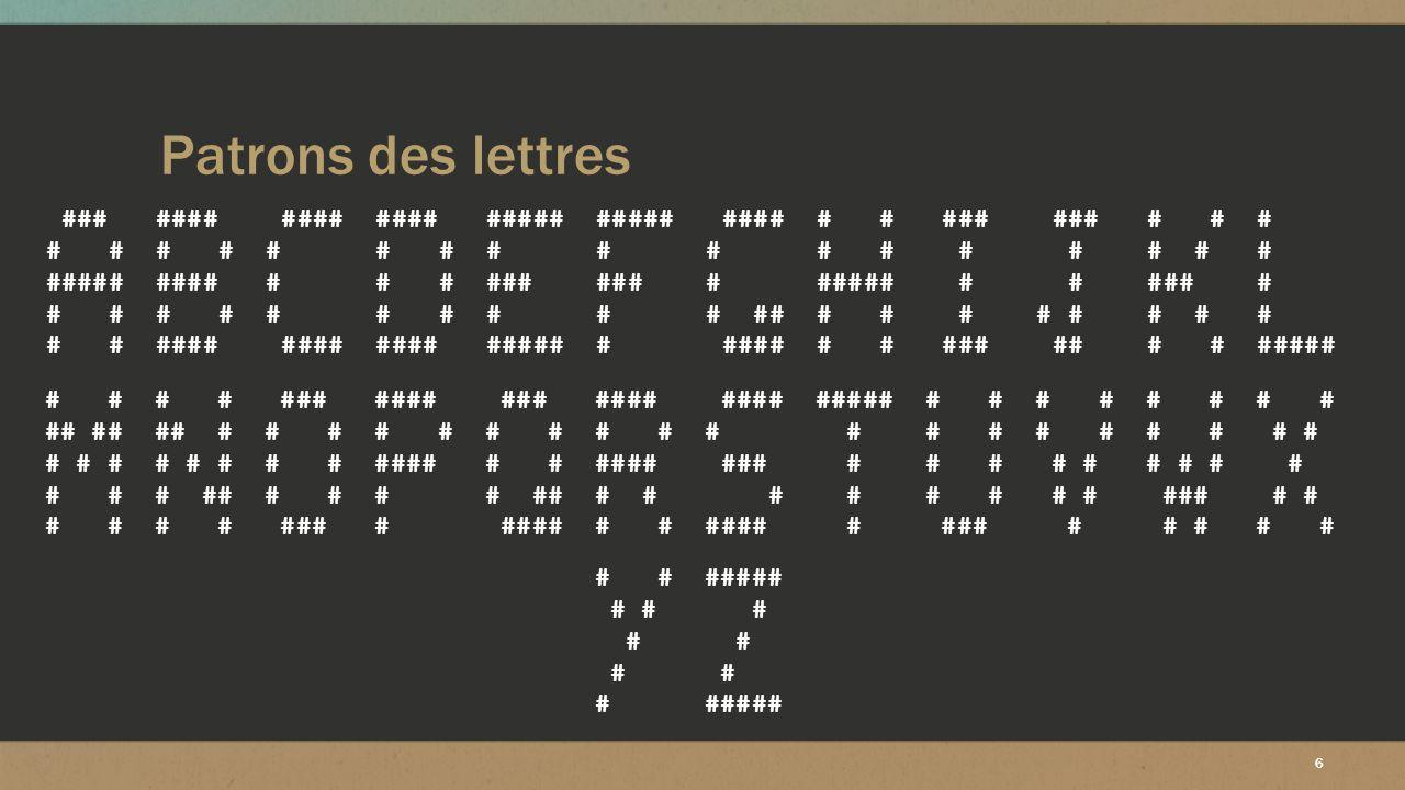17 Changement des patrons ▪ Changement des différents patrons de lettres différentes ▪ Au final apprentissage de 24 lettres ▪ Importance de la similitude des lettres |# | | # | |#####| | ### | |# | | # | | # | | # | |# | | # | | # | | # | |# | | # | | # | | # | |#####| | ###| | # | | # |