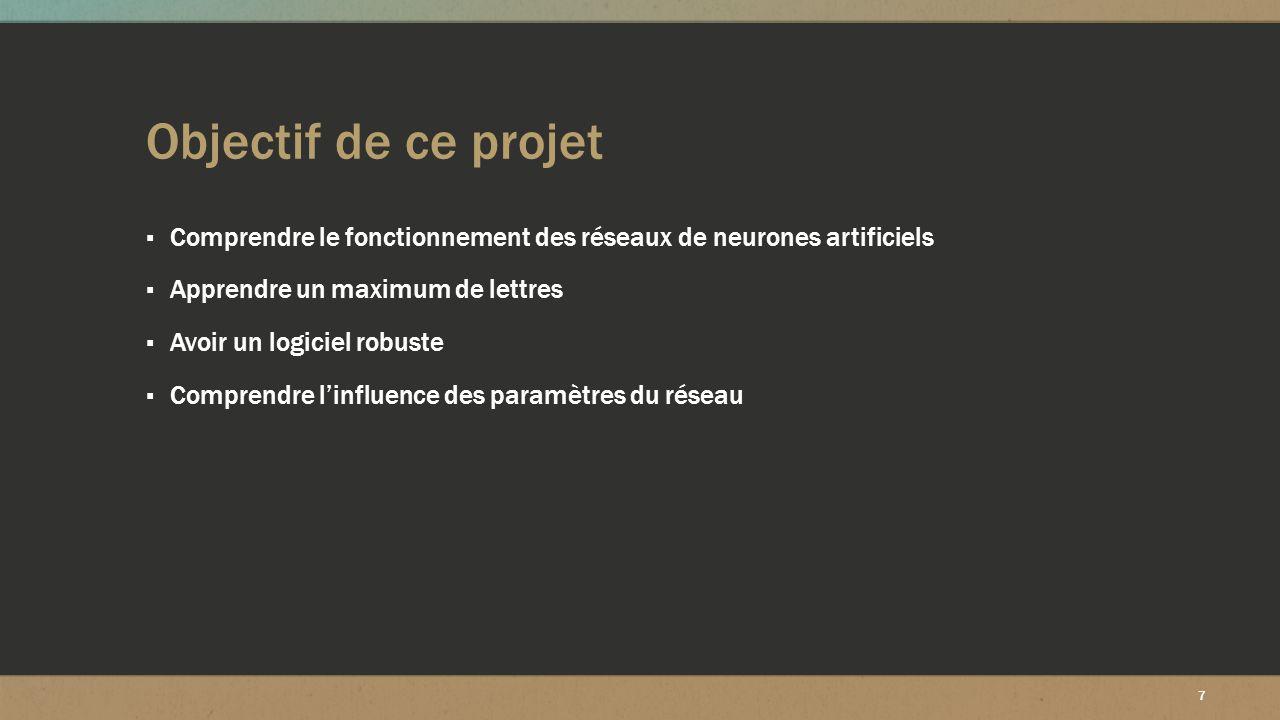 7 Objectif de ce projet ▪ Comprendre le fonctionnement des réseaux de neurones artificiels ▪ Apprendre un maximum de lettres ▪ Avoir un logiciel robus