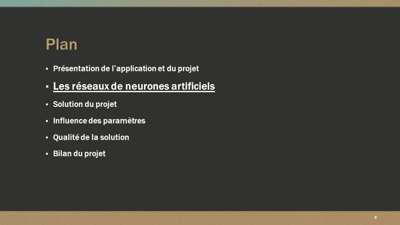 8 Plan ▪ Présentation de l'application et du projet ▪ Les réseaux de neurones artificiels ▪ Solution du projet ▪ Influence des paramètres ▪ Qualité de
