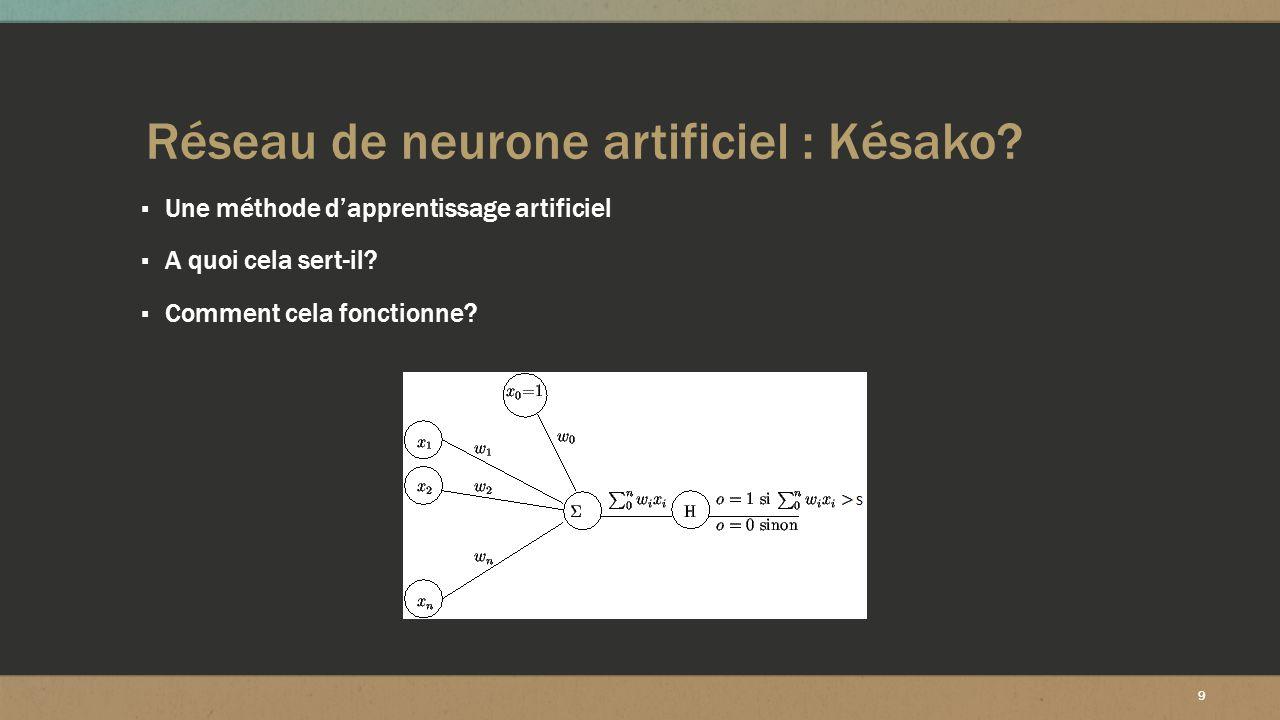 9 Réseau de neurone artificiel : Késako? ▪ Une méthode d'apprentissage artificiel ▪ A quoi cela sert-il? ▪ Comment cela fonctionne?