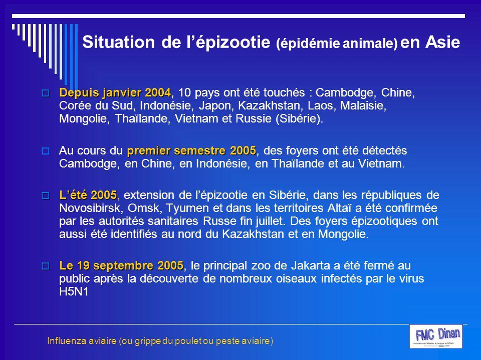 Situation de l'épizootie (épidémie animale) en Asie  Depuis janvier 2004  Depuis janvier 2004, 10 pays ont été touchés : Cambodge, Chine, Corée du S