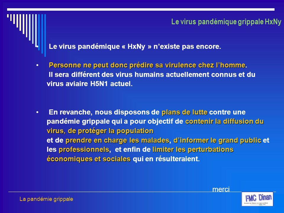 Le virus pandémique grippale HxNy Le virus pandémique « HxNy » n'existe pas encore. Personne ne peut donc prédire sa virulence chez l'homme Personne n
