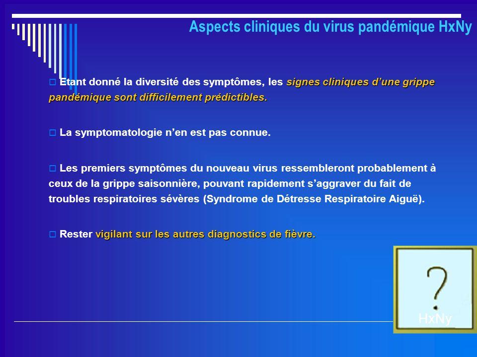 Aspects cliniques du virus pandémique HxNy signes cliniques d'une grippe pandémique sont difficilement prédictibles.  Etant donné la diversité des sy
