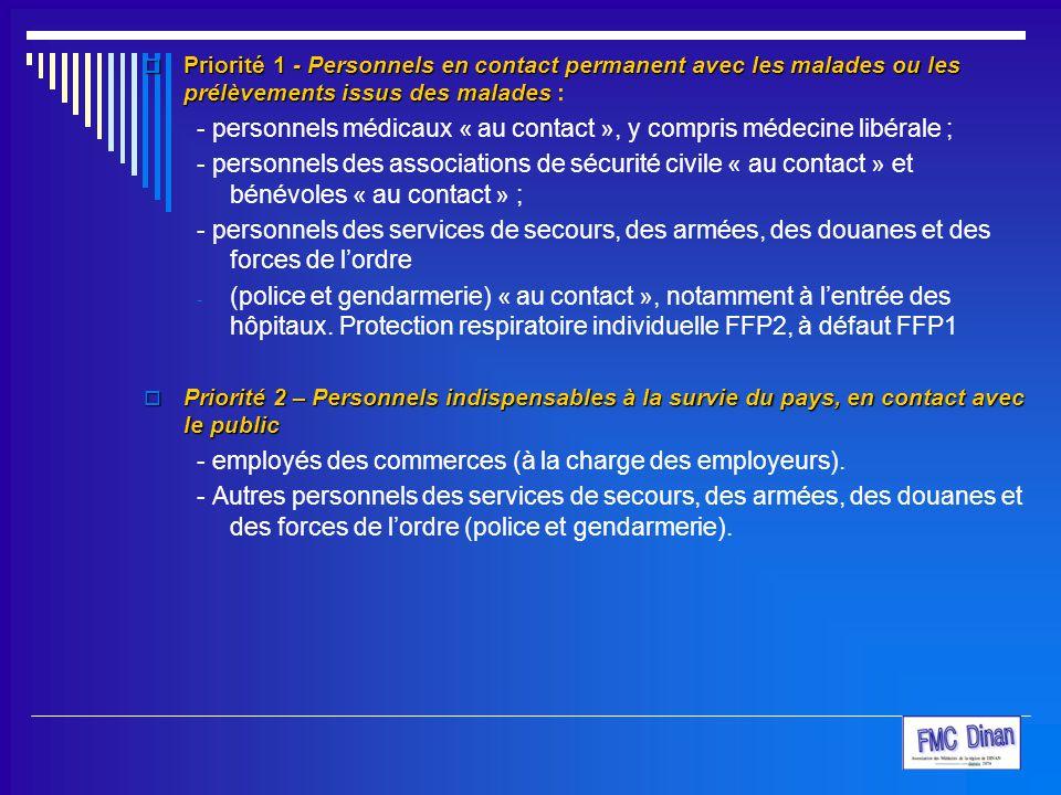  Priorité 1 - Personnels en contact permanent avec les malades ou les prélèvements issus des malades  Priorité 1 - Personnels en contact permanent a