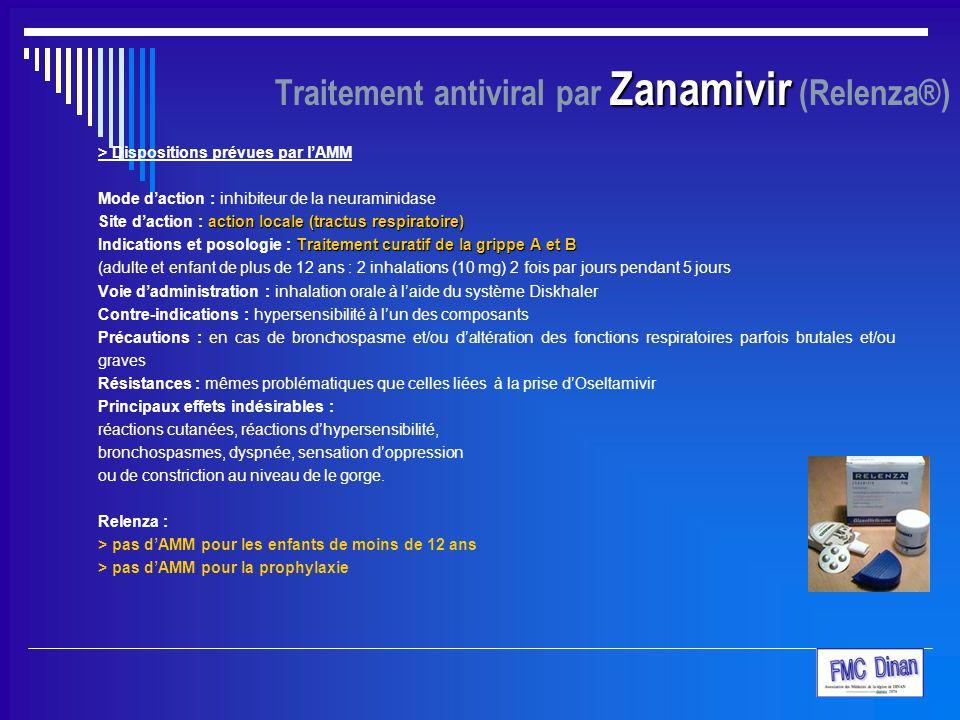 Zanamivir Traitement antiviral par Zanamivir (Relenza®) > Dispositions prévues par l'AMM Mode d'action : inhibiteur de la neuraminidase action locale