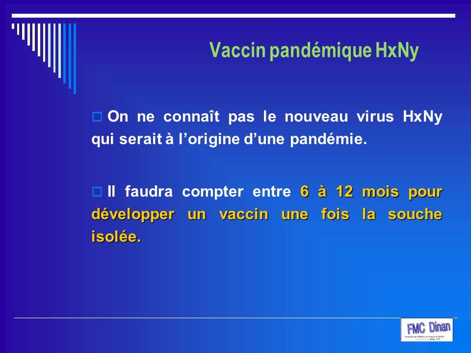 Vaccin pandémique HxNy  On ne connaît pas le nouveau virus HxNy qui serait à l'origine d'une pandémie. 6 à 12 mois pour développer un vaccin une fois