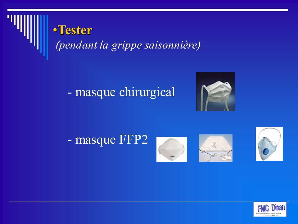 TesterTester (pendant la grippe saisonnière) - masque chirurgical - masque FFP2
