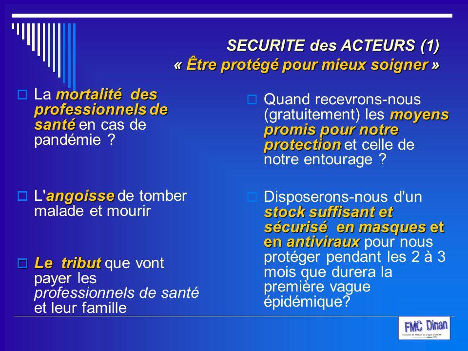 SECURITE des ACTEURS (1) « Être protégé pour mieux soigner » mortalité des professionnels de santé  La mortalité des professionnels de santé en cas d