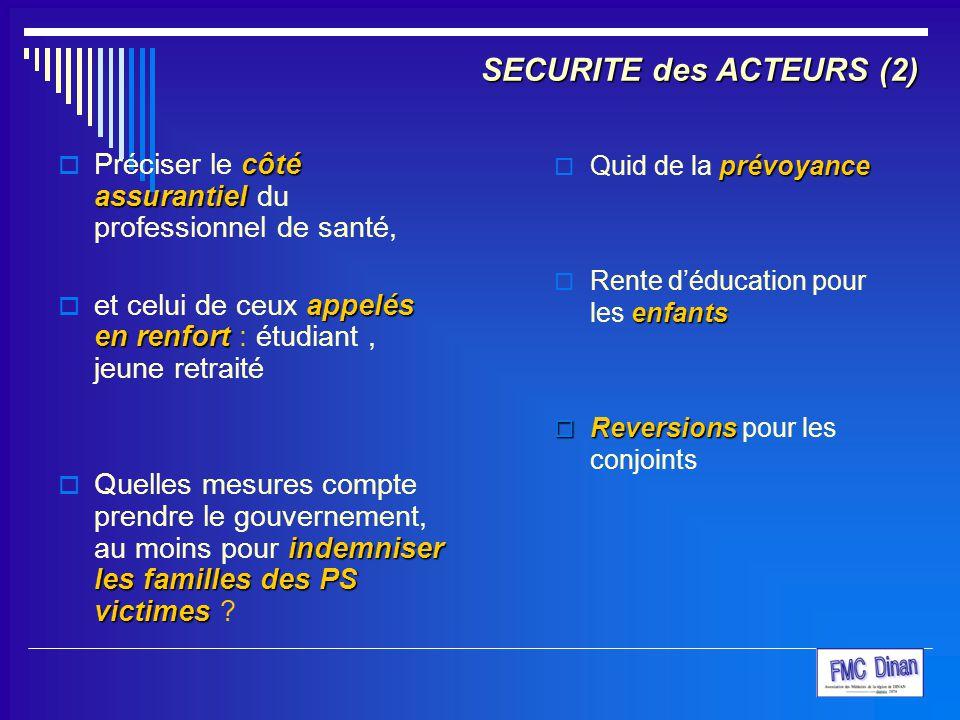 SECURITE des ACTEURS (2) côté assurantiel  Préciser le côté assurantiel du professionnel de santé, appelés en renfort  et celui de ceux appelés en r