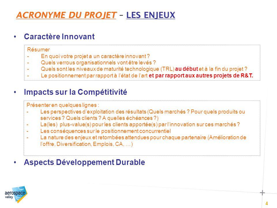 ACRONYME DU PROJETLES ENJEUX ACRONYME DU PROJET – LES ENJEUX 4 Caractère Innovant Impacts sur la Compétitivité Aspects Développement Durable Résumer -En quoi votre projet a un caractère innovant .