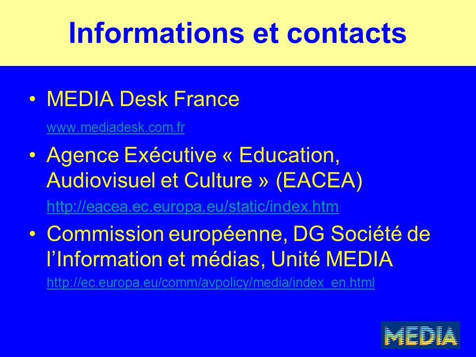 Informations et contacts MEDIA Desk France www.mediadesk.com.fr Agence Exécutive « Education, Audiovisuel et Culture » (EACEA) http://eacea.ec.europa.
