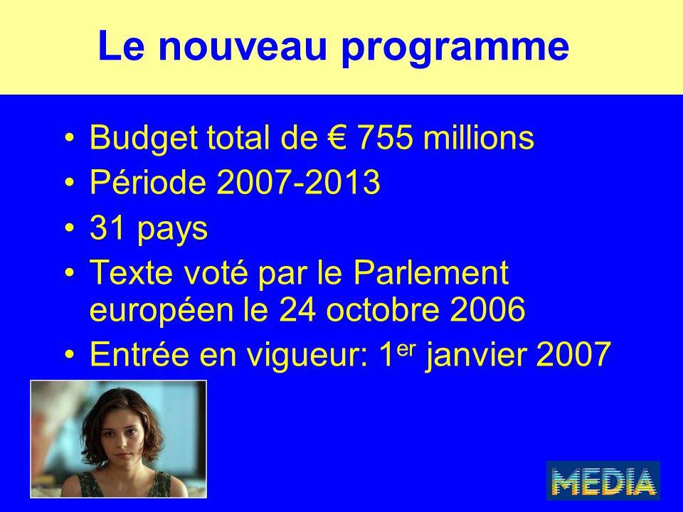 Le nouveau programme Budget total de € 755 millions Période 2007-2013 31 pays Texte voté par le Parlement européen le 24 octobre 2006 Entrée en vigueur: 1 er janvier 2007