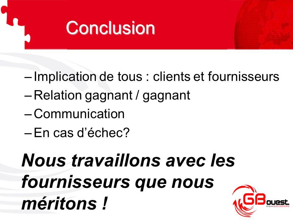 –Implication de tous : clients et fournisseurs –Relation gagnant / gagnant –Communication –En cas d'échec? Nous travaillons avec les fournisseurs que