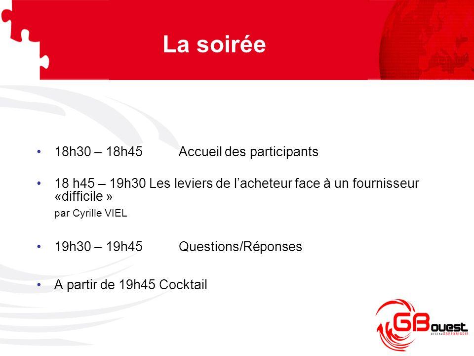 La soirée 18h30 – 18h45 Accueil des participants 18 h45 – 19h30 Les leviers de l'acheteur face à un fournisseur «difficile » par Cyrille VIEL 19h30 –