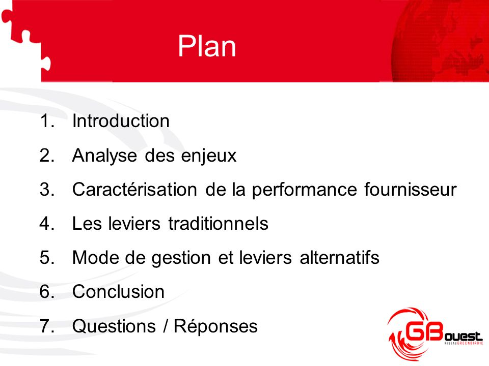 Introduction Les enjeux de la performance fournisseur : –Flexibilité –Qualité –Rentabilité