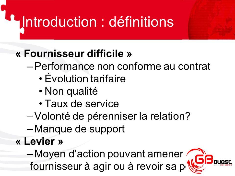 Introduction : définitions « Fournisseur difficile » –Performance non conforme au contrat Évolution tarifaire Non qualité Taux de service –Volonté de