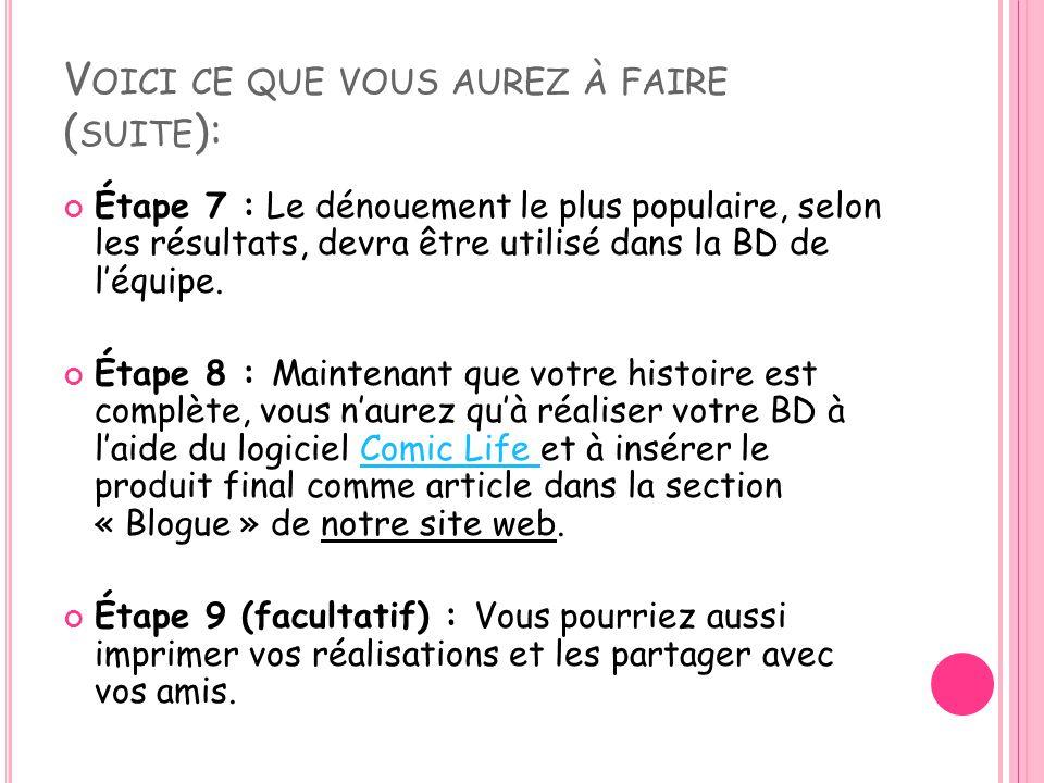 V OICI CE QUE VOUS AUREZ À FAIRE ( SUITE ): Étape 7 : Le dénouement le plus populaire, selon les résultats, devra être utilisé dans la BD de l'équipe.