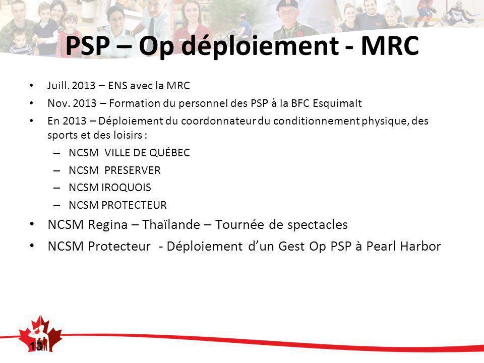 PSP – Op déploiement - MRC Juill. 2013 – ENS avec la MRC Nov.