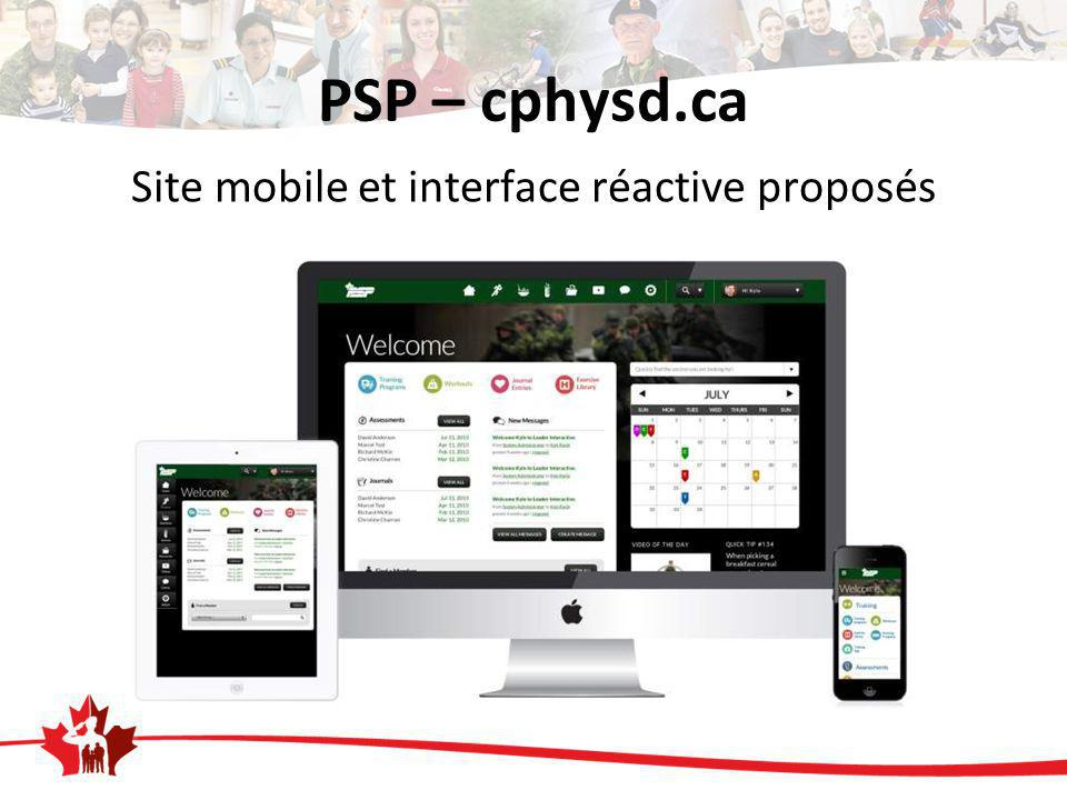PSP – cphysd.ca Site mobile et interface réactive proposés