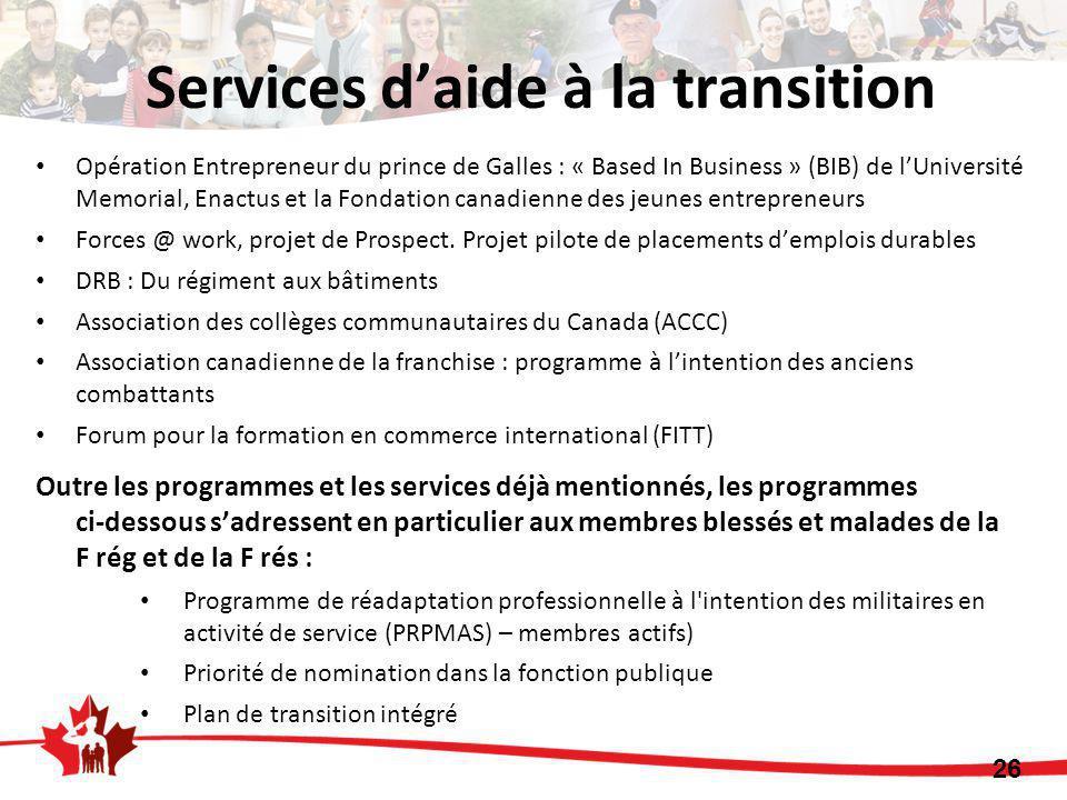 Opération Entrepreneur du prince de Galles : « Based In Business » (BIB) de l'Université Memorial, Enactus et la Fondation canadienne des jeunes entrepreneurs Forces @ work, projet de Prospect.