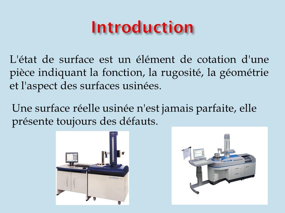 L'état de surface est un élément de cotation d'une pièce indiquant la fonction, la rugosité, la géométrie et l'aspect des surfaces usinées. Une surfac