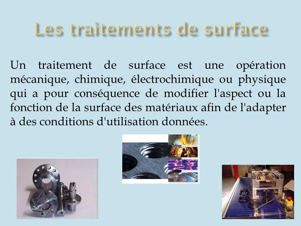 Un traitement de surface est une opération mécanique, chimique, électrochimique ou physique qui a pour conséquence de modifier l'aspect ou la fonction