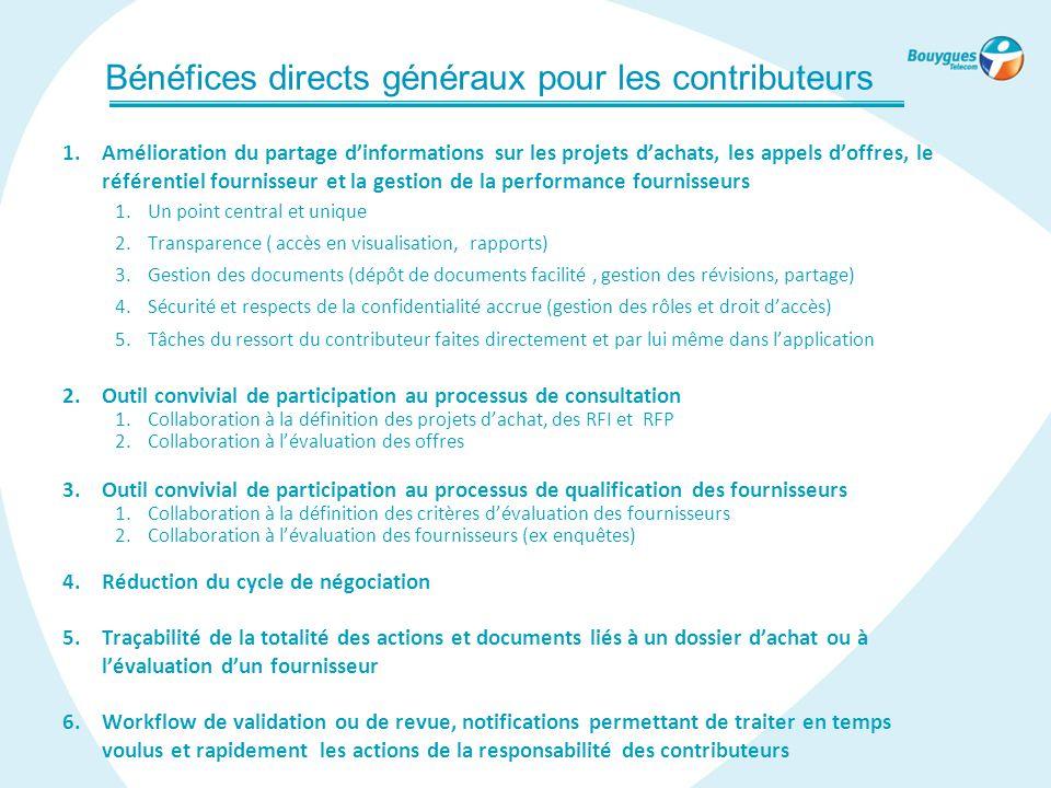 Bénéfices directs généraux pour les contributeurs 1.Amélioration du partage d'informations sur les projets d'achats, les appels d'offres, le référenti