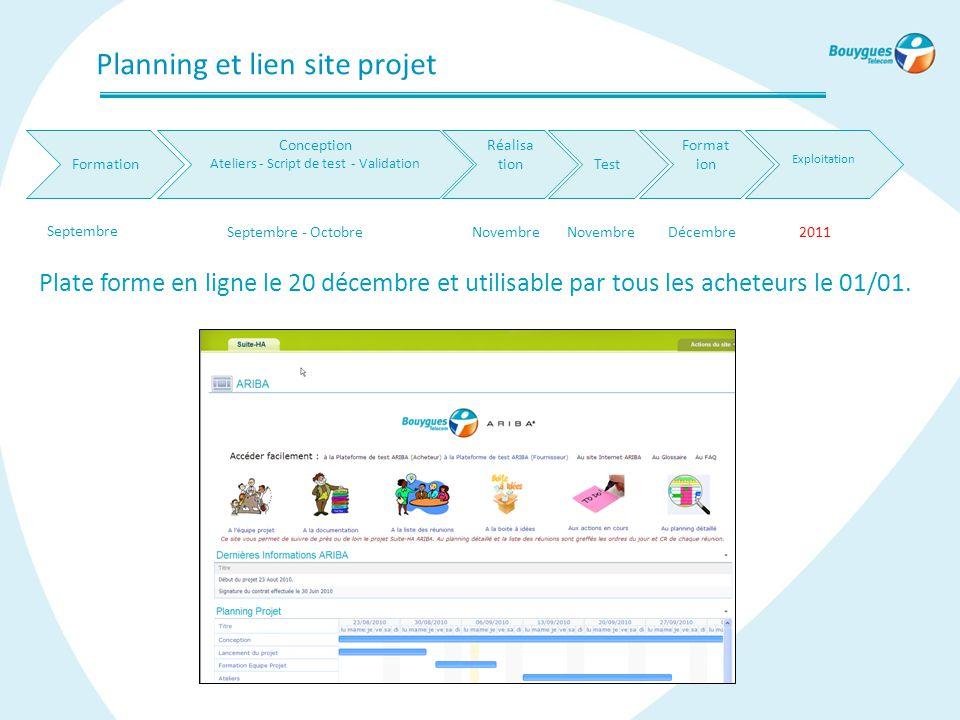 Planning et lien site projet Conception Ateliers - Script de test - Validation Réalisa tionTest Format ion Exploitation Septembre Septembre - OctobreN