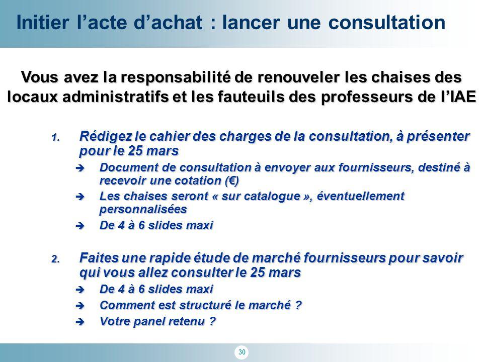 30 1. Rédigez le cahier des charges de la consultation, à présenter pour le 25 mars  Document de consultation à envoyer aux fournisseurs, destiné à r