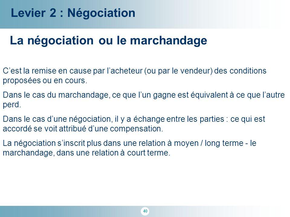 40 Levier 2 : Négociation La négociation ou le marchandage C'est la remise en cause par l'acheteur (ou par le vendeur) des conditions proposées ou en