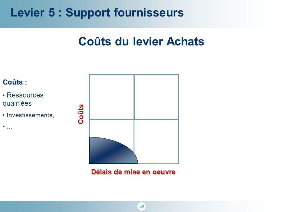 60 100 % Délais de mise en oeuvre Levier 5 : Support fournisseurs Coûts Coûts du levier Achats Coûts : Ressources qualifiées Investissements, …