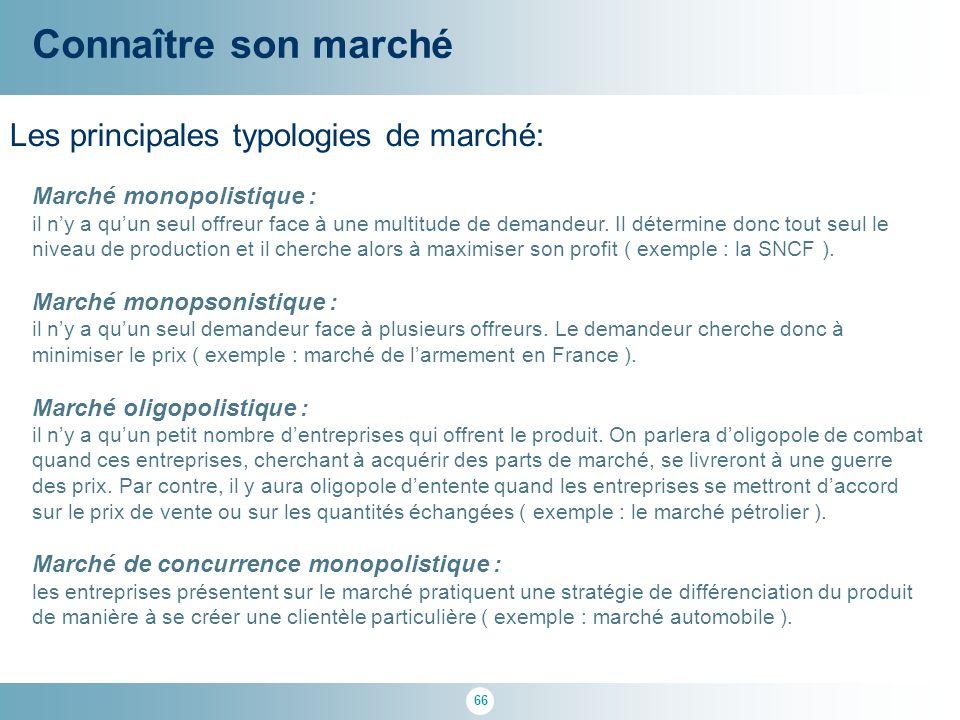 66 Les principales typologies de marché: Connaître son marché Marché monopolistique : il n'y a qu'un seul offreur face à une multitude de demandeur. I